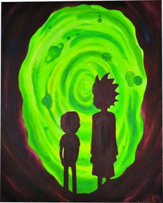 "Rick and morty ft. portal acrylic 16"" x 20"" via..."