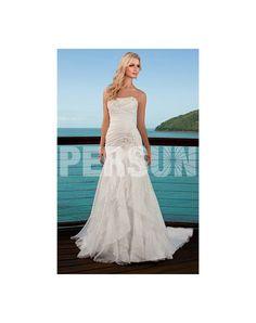Sweetheart Ruched Beading Tiered Chiffon Wedding Dress - PERSUN  $159