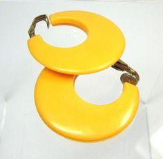 Vintage Hoop Earrings Plastic Yellow Clip by MickisVintageJewelry, $5.50
