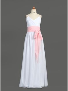 A-Line/Princess V-neck Floor-Length Chiffon Junior Bridesmaid Dress With Ruffle Sash Bow(s)