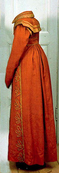 Coat, wool, silk wool, linen lining, silk decor, 1810-1815. Sweden