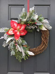 Poinsettia Wreath Christmas Wreaths Winter by WreathsByRebeccaB