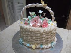 Flower Basket of Happy Roses - Oval Cake with bsketweave and gum paste roses