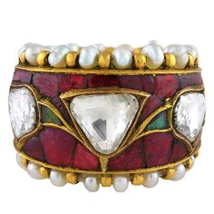 Contemporary Indian Diamond, Rubies, Emerald and Pearl Ring |Pinned from PinTo for iPad|