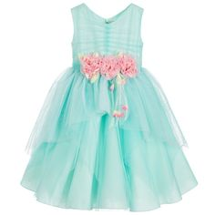 Aletta Girls Turquoise Tulle Dress with Pink Flowers  at Childrensalon.com
