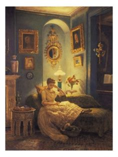 AN EVENING AT HOME, BY EDWARD JOHN POYNTER.  Put her in a wife beater and granny panties and swap out the book for a laptop and it's like you're right in my living room.