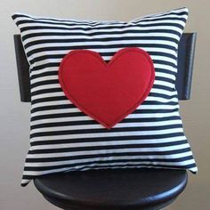 red heart pillow cover // black and white stripe pillow // heart shaped pillow // black striped pillow cover // 12 inch cushion cover Cute Pillows, Diy Pillows, Throw Pillows, Heart Cushion, Heart Pillow, Diy Pillow Covers, Cushion Covers, Bed Covers, Handmade Pillows