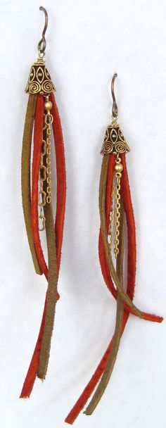 Leather tassel earrings by Blue Door Beads.