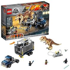 LEGO 75933 Jurassic World T-Rex Transport Building Set with Dinosaur Figure, Zia Minifigure and Truck with Trailer, Fallen Kingdom Movie Sets for Years Old Boys and Girls Lego Jurassic Park, Jurassic World T Rex, Jurassic World Fallen Kingdom, Lego Ninjago, Ninjago Cole, Ninjago Kai, Ninjago Memes, Ninjago Party, Lego Technics