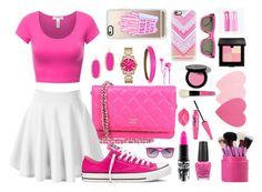 """""""Pink"""" by crazycaty11 ❤ liked on Polyvore featuring Converse, MAC Cosmetics, OPI, Sephora Collection, Bobbi Brown Cosmetics, Lime Crime, Laura Mercier, Kendra Scott, Michael Kors and Alexis Bittar"""