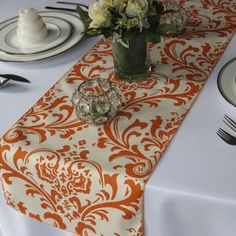Traditions Orange and Ivory Damask Wedding Table Runner via Etsy Modern Table Runners, Orange Table, Damask Wedding, Baby Shower Fall, Table Arrangements, Wedding Table, Wedding Ideas, Wedding Inspiration, Fall Crafts