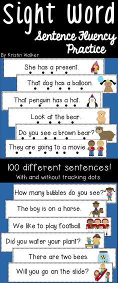 Use these sentence fluency cards with your students to practice fluency, sight words, one-to-one correspondence, decoding simple words, using picture clues, using expression, etc. Reading Fluency, Kindergarten Reading, Reading Strategies, Teaching Reading, Reading Groups, Learning, Sight Word Sentences, Sight Words, Different Sentences
