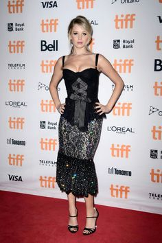 1be69d1463d9 Jennifer Lawrence Goes Goth in a Glittering Bustier-Style Gown