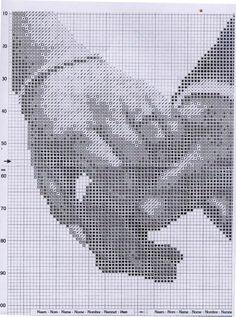 Wzory Schematy Haft Krzyżykowy: Pamiątka ślubna - dłonie Wedding Lasso, Wedding Cross Stitch, C2c Crochet, Cross Stitch Patterns, Needlework, Fun, Plastic Canvas, Blog, Christmas