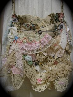 Shabby Bag romantic pink laces vintage by TatteredDelicates