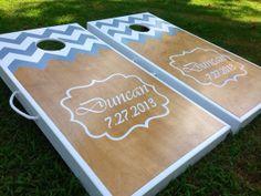 Half and Half Custom Chevron Monogram Cornhole Board Sets on Etsy, $230.00