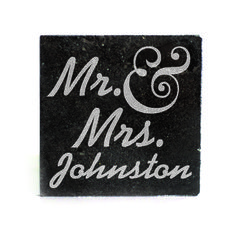 Black Granite Coasters (set of 4) - Mr & Mrs. Personalized