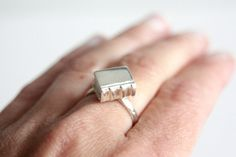 Book Ring Sterling Silver Booklover Gift Handmade in by RockCakes