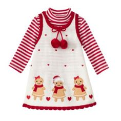 She will look sweet as can be in this girls' Bonnie Jean gingerbread sweater jumper and bodysuit set, featuring adorable pom accents. Toddler Girl Christmas Outfits, Kids Outfits, Bookmarks Kids, Bonnie Jean, Dresses Kids Girl, Baby Patterns, Toddler Dress, Clothing Items, Girl Dolls