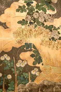Detail. Japanese Six Panel Folding Screen: Rimpa School. Chrysanthemums on Silver and Gold. with twig fence, mineral pigments with raised painted flowers and gold leaf on oxidized silver leaf background. 1850.