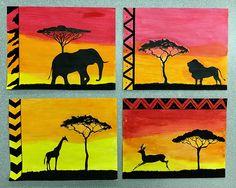 Water Color Safari Silhouettes Safari Theme, Jungle Safari, Jungle Activities, Curious Creatures, Book Week, Summer School, Elementary Art, Preschool Crafts, Silhouettes