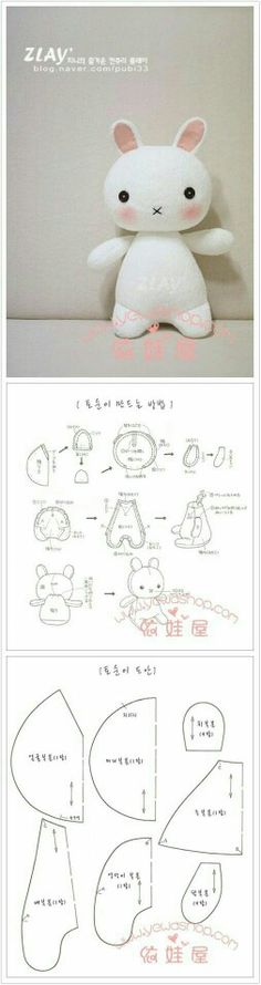 DIY pattern rabbit bunny doll, this would be a cute little doll for a child. It would be even easier to make if it were in English!--sewing pattern--Something to do with the girls Felt Crafts, Fabric Crafts, Sewing Crafts, Sewing Projects, Craft Projects, Softies, Plushies, Doll Patterns, Sewing Patterns
