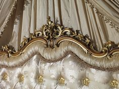 Classic double bed baroque, details of the headboard