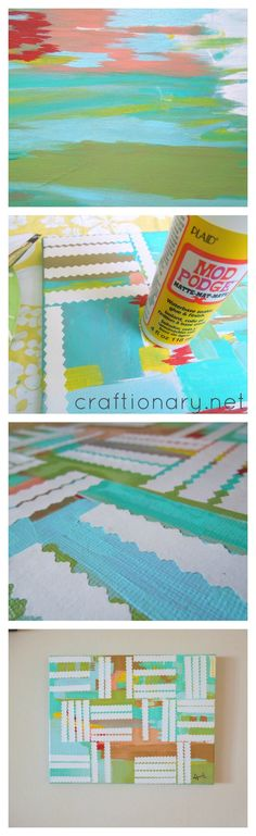 DIY Geometric Wall Art.. Super easy! Paint, decoupage and done.