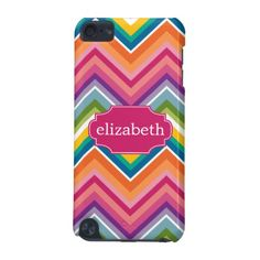 Colorful Huge Chevron Pattern with name iPod Touch (5th Generation) Cases