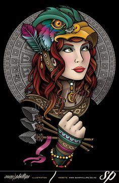 Bird Headdress T-Shirt Design Acid Trip Art, Pin Up Girl Tattoo, Diy Clothes And Shoes, Tattoo Flash Art, Desenho Tattoo, Digital Art Girl, Neo Traditional Tattoo, Sketch Design, Fantastic Art