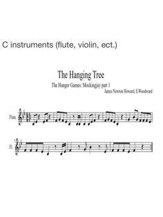 Mockingjay Hanging Tree sheet music for flute