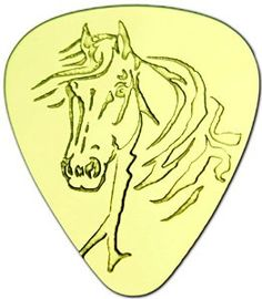 """Amazon.com: Unique & Custom [0.38mm Thin Gauge - Traditional Style Semi Tip] Hard Luxury Guitar Pick Made of Genuine Solid Brass w/ Farmyad Country Animals Horse Design """"Gold Yellow Colored"""" {Single Pick}: Musical Instruments"""