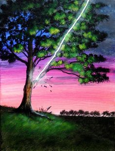 Lighting Striking Tree Acrylic Painting by ABrushOfLife on Etsy