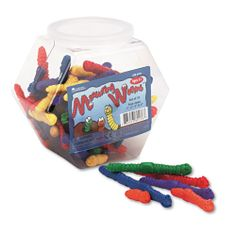 """Measuring Worms"", Math Manipulatives, for Grades Pre-K and Up. Help students get a grasp on those important early math skills with these squishy, colorful worms. Engaging manipulaitves give new meaning to ""inch worms"" and make counting, sorting and measuring fun. Includes 72 worms in six colors and four sizes (1"", 2"", 3"" and 4"") and an activity guide packed in a convenient storage bucket."