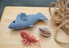 Catch of the Day Felt Seafood Set by FiddledeeDeeCraft on Etsy, $40.00