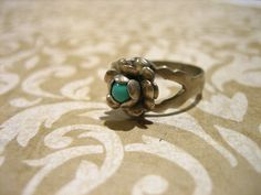 Vintage Sterling Silver and Turquoise Flower Ring by charmingellie, $26.00