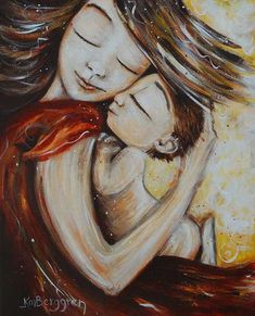 mother and child dancing naked red dress art print  by kmberggren, $19.00