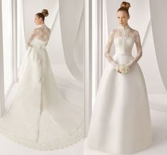 Aliexpress.com : Buy Designer Vintage High Neck Long Sleeve Satin Lace Wedding Dress from Reliable wedding dress suppliers on Dreamy Life $325.00