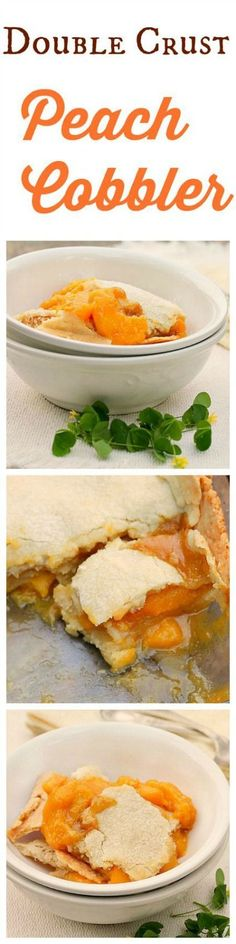 Double Crust Peach Cobbler... The peach filling is delicious with a hint of lemon, cinnamon and vanilla. The all butter double crust is melt in your mouth good!