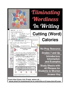 Students have writing fun as they learn how to be concise.This 4-page printable activity includes an introductory page with explanations and examples of problems with wordiness, 40 examples of inflated commonly-used phrases that students improve with shorter phrases, and an answer key for teachers.
