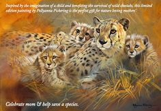 Send mom to Africa: the spellbinding realism of Pollyanna Pickering's wildlife paintings bring to life scenes from the wild, capturing expressions of the mother cheetah and her cubs in a limited edition print that tells a story. Inspired by the imagination of a child the piece represents a tale for conservation.