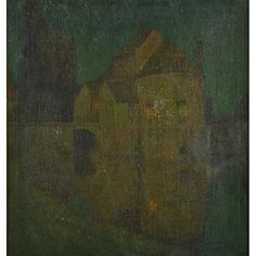 """Untitled, (poss. Bruges nocturne), Charles Warren Eaton, oil on canvas, 30 x 28"""", private collection."""