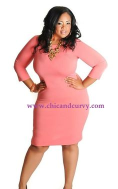 New Plus Size Coral Body Con Dress 1X 2X 3X available at www.chicandcurvy.com