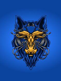 Mytichal mecha wolf illustration Premium... | Free Vector #Freepik #freevector #freelogo #freeabstract #freenature #freecartoon Wolf Illustration, Free Cartoons, Abstract Nature, Free Logo, Vector Free, Lion Sculpture, Artwork, Mugs, Wolves