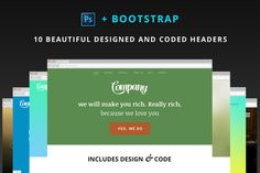 Check out 10 designed and coded headers by Around Seven Products on Creative Market