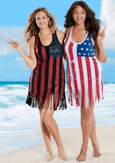Plus Size patriotic themed tank has printed front and solid back. Bathing Suit Dress, Tank Dress, Dress Tops, Women's Plus Size Swimwear, Clothing Sites, Gothic Outfits, Plus Size Womens Clothing, Plus Size Dresses, Beachwear