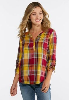 767efdbf608d5 Cato Fashions Plus Size Golden Plaid Pullover Top  CatoFashions Cato  Fashion Plus Size