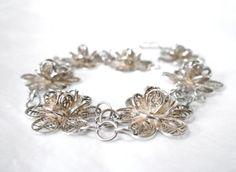 1950's Sterling Silver Filigree Bracelet by dstefanTreasures