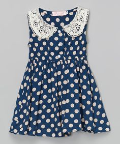 Look at this Designs by Meghna Navy Polka Dot Dress - Toddler