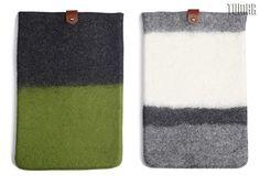 Macbook-11' cover with leather details. Felt: 100% wool. Handmade, solid felted (Ala Kiyiz technique). 20 х 30